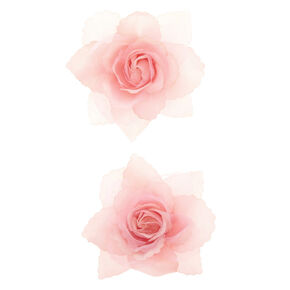 Mini Rose Hair Clips - Blush Pink, 2 Pack,