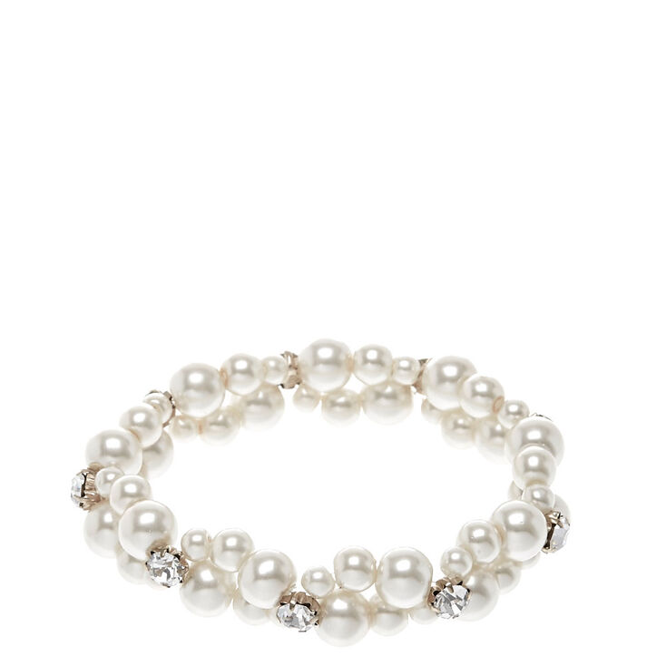 Double Row Faux White Pearl Bracelet