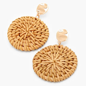"Gold 2"" Round Disc Rattan Drop Earrings,"