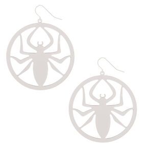 "Silver 2"" Spider Drop Earrings,"