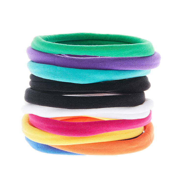 Rainbow Rolled Hair Bobbles - 10 Pack,