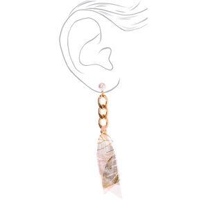 """Gold 3.5"""" Chain & Ribbon Drop Earrings,"""