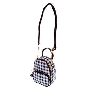 Mini sac à dos à bandoulière vichy marguerite - Noir,