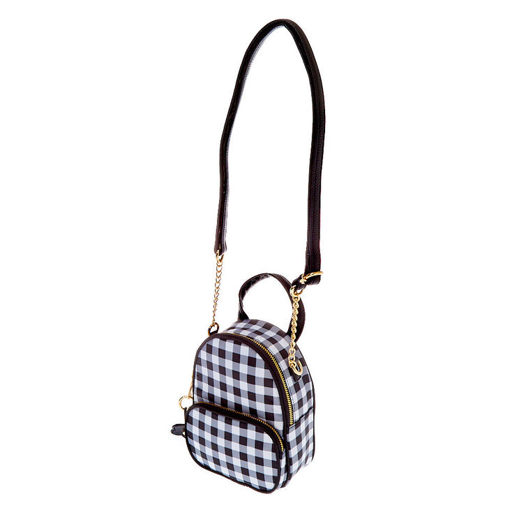Daisy Gingham Mini Backpack Crossbody Bag - Black,