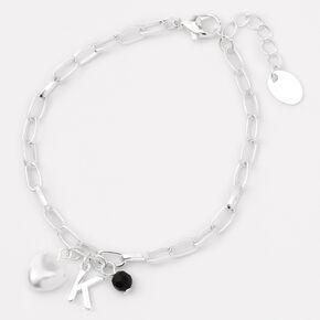 Silver Initial Beaded Heart Charm Chain Bracelet - Black, K,