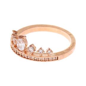 Rose Gold Embellished Tiara Ring,