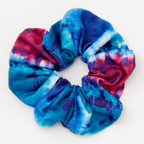 Medium Navy & Fuchsia Tie Dye Hair Scrunchie,
