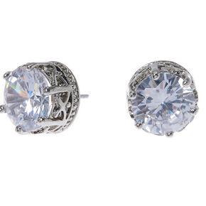 Silver Cubic Zirconia Round Crown Stud Earrings - 10MM,