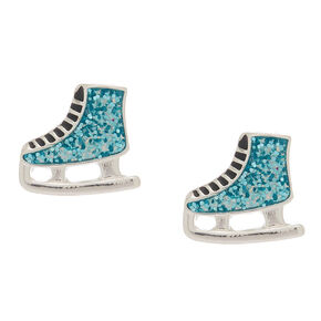 Glitter Ice Skate Stud Earrings - Blue,