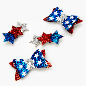 Red, White, And Blue Glitter Star Bows,