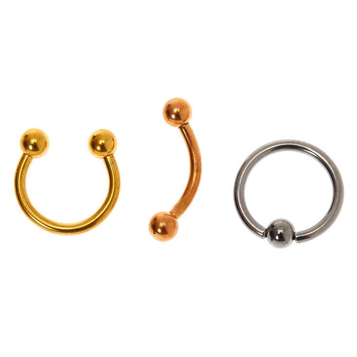 Boucles de cartilage assorties 16g couleur titanée en métaux mixtes - Lot de 3,