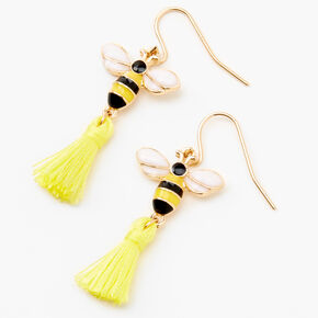 "Gold 1"" Bee Tassel Drop Earrings - Yellow,"