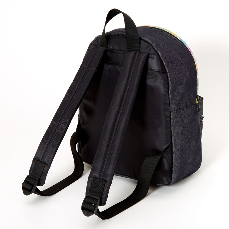 Denim Patches Medium Backpack - Black,
