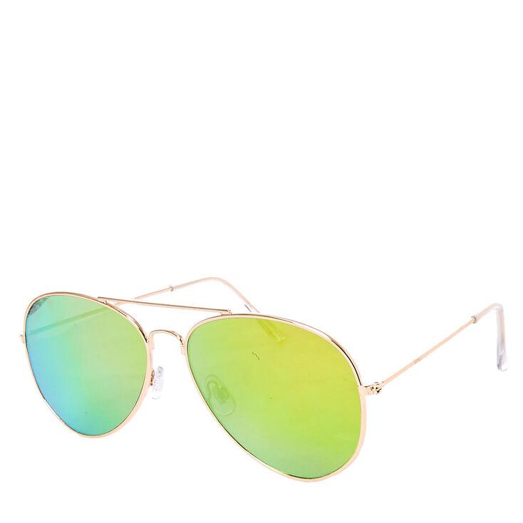 Gold Mirrored Aviator Sunglasses  7287da9b20c
