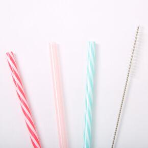 Striped Reusable Plastic Straws - 3 Pack,