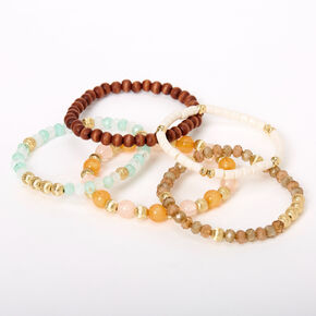 Chic Beaded & Wooden Stretch Bracelets - 5 Pack,