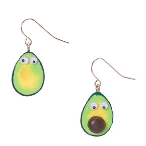 "Silver 1"" Avocado Drop Earrings,"
