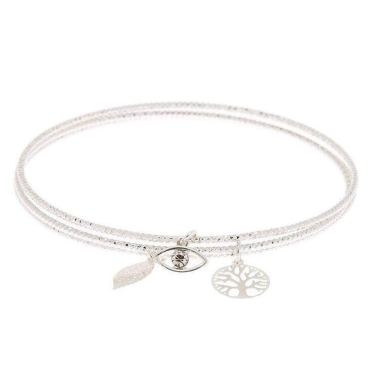 Silver Nature Charm Bangle Bracelets 3 Pack