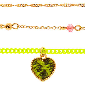 Gold Snakeskin Heart Choker Necklaces - Neon Yellow, 3 Pack,