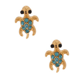 Gold Turtle Stud Earrings - Green,