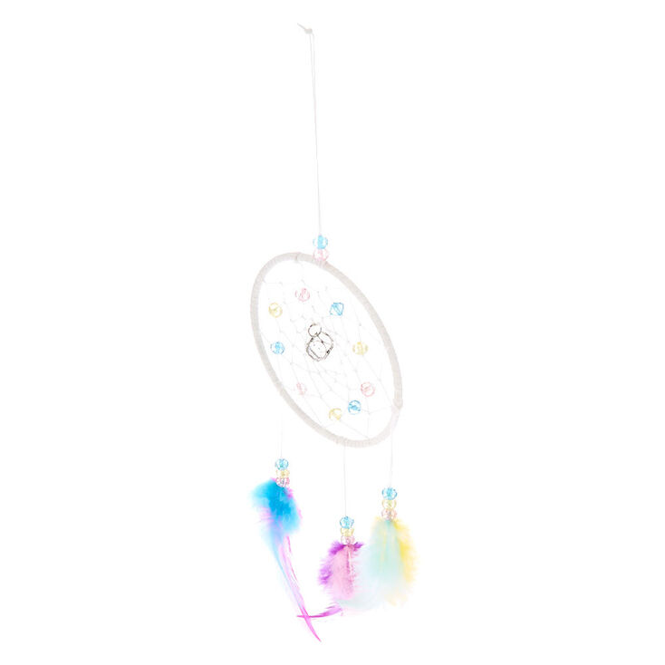 Pastel Beaded Dreamcatcher Wall Art - White,