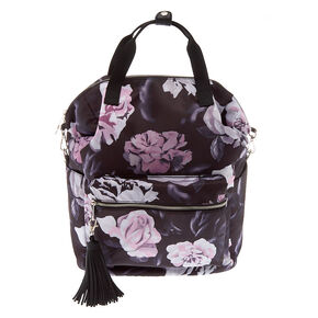 Go to Product: Floral Quilted Double Handle Backpack - Black from Claires