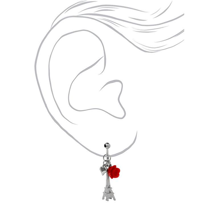 "Silver 1"" Eiffel Tower Rose Clip On Drop Earrings - Red,"