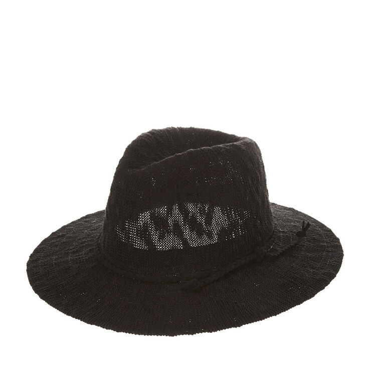 7e386b186d7 Black Floppy Panama Hat with Braided Suede Trim
