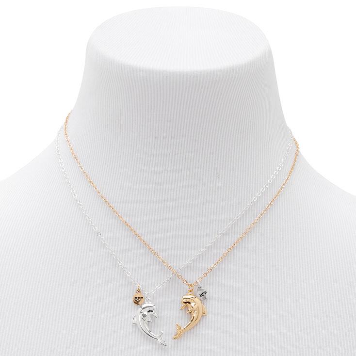 Best Friends Split Dolphin Heart Necklaces - 2 Pack,