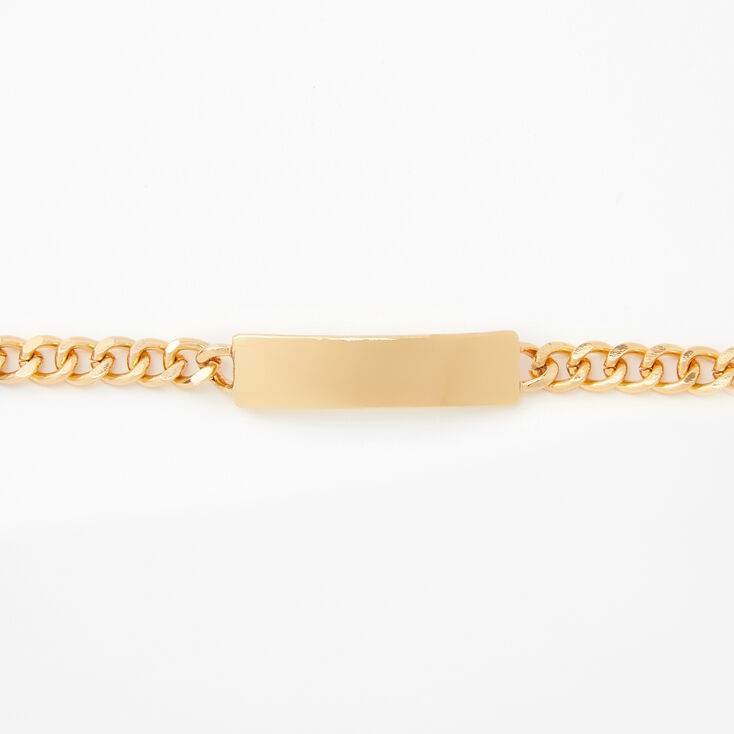 Gold ID Tag Chain Choker Necklace,