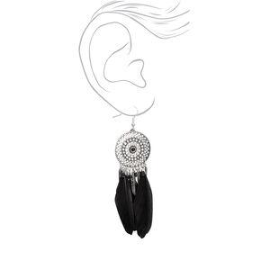 "Silver 3.5"" Medallion Feather Drop Earrings - Black,"