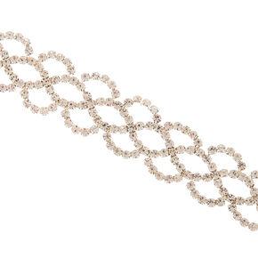 Bracelet volumineux crochet avec strass couleur argenté,