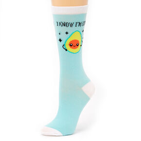 Avocado Crew Socks - Blue,