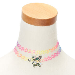 Best Friends Rainbow Mood Unicorn Tattoo Choker Necklaces - 2 Pack,