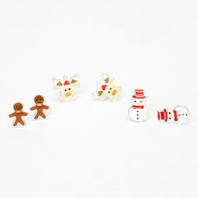 Sterling Silver Christmas Critter Stud Earrings - 3 Pack,