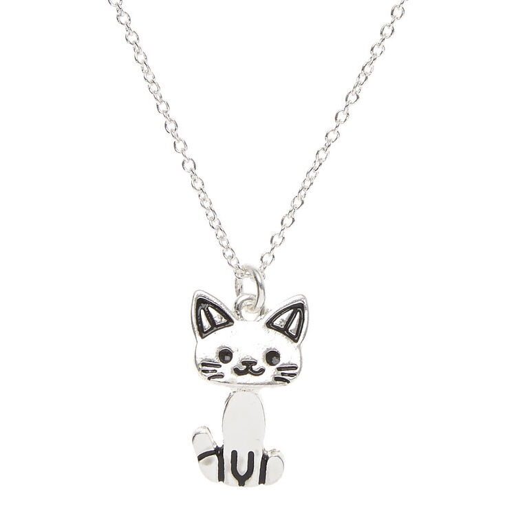 Silver Moveable Cat Pendant Necklace,