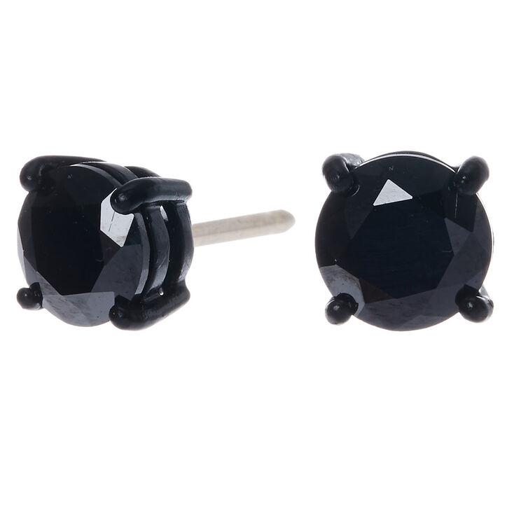 Black Cubic Zirconia Round Stud Earrings - 8MM,