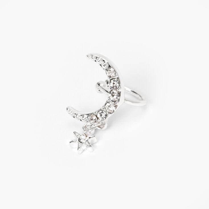 Silver Crescent Moon Star Dangle Ear Cuff,