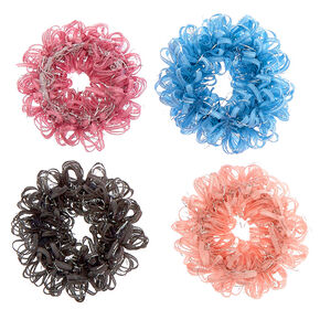 Pastel Lurex Loop Hair Bobbles - 4 Pack,