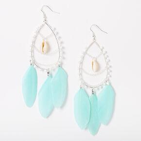 """Silver 4.5"""" Beaded Teardrop Feather Drop Earrings - Turquoise,"""