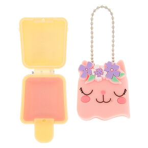 Claire's Club Pucker Pops Flower Kitty Lip Gloss - Strawberry,