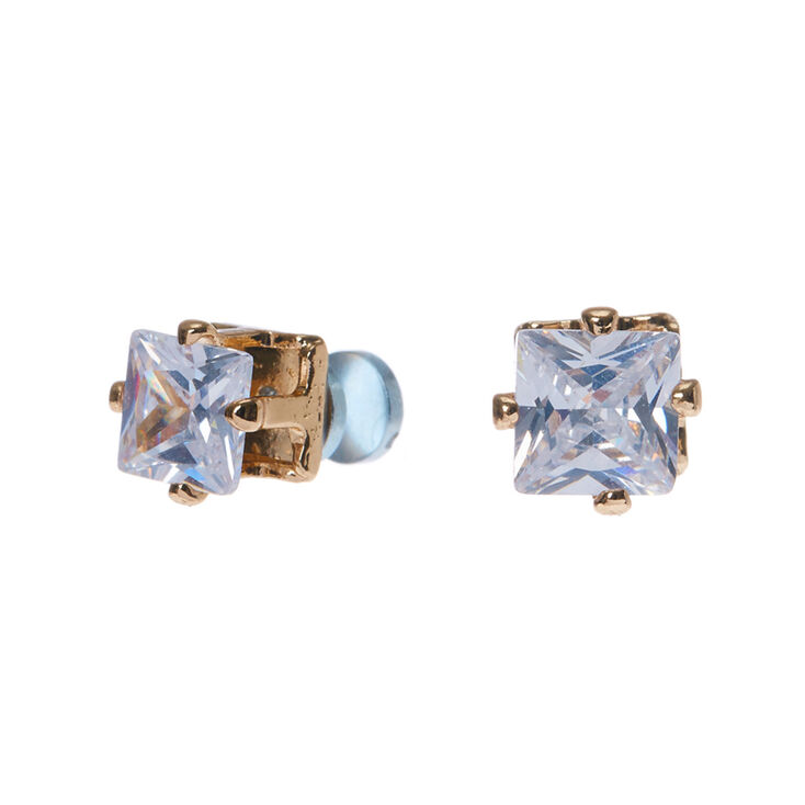 5mm gold framed square cubic zirconia magnetic stud earrings