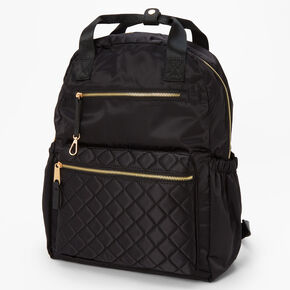 Quilted Nylon Functional Backpack - Black,