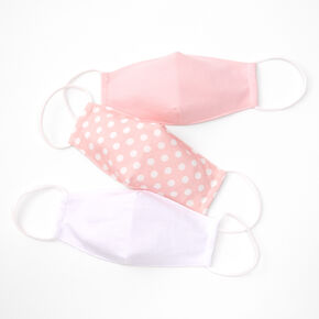 3 Pack Cotton Pink and White Polka Dot Face Masks - Child Medium/Large,