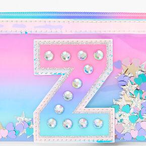 Iridescent Shakey Confetti Initial Coin Purse - Z,