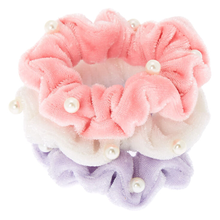Claire's Club Small Pearl Velvet Hair Scrunchies - 3 Pack,