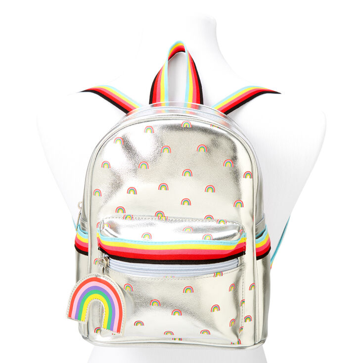 Rainbow Holographic Mini Backpack - Silver,