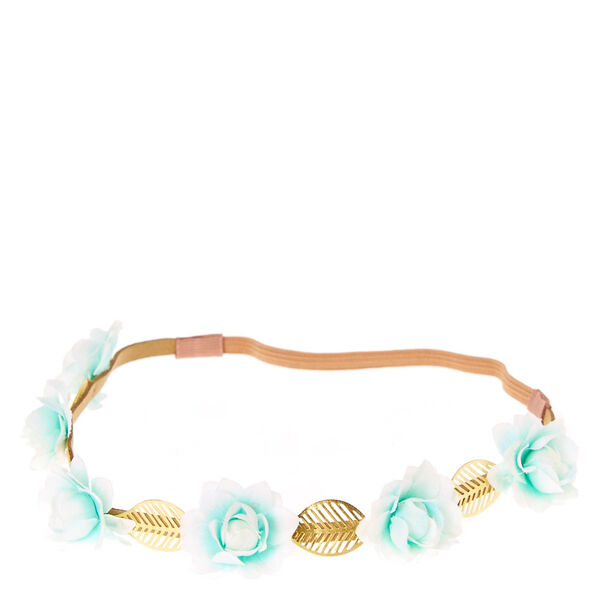 Claire's - mint ombre flowers & leaves headwrap - 1