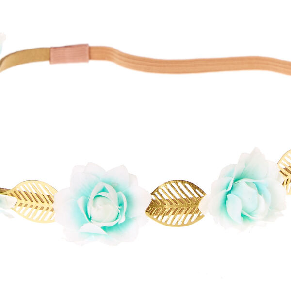 Claire's - mint ombre flowers & leaves headwrap - 2