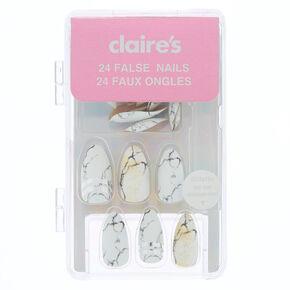 Faux ongles stiletto à rayures métalliques effet marbré - Blanc Lot de24,